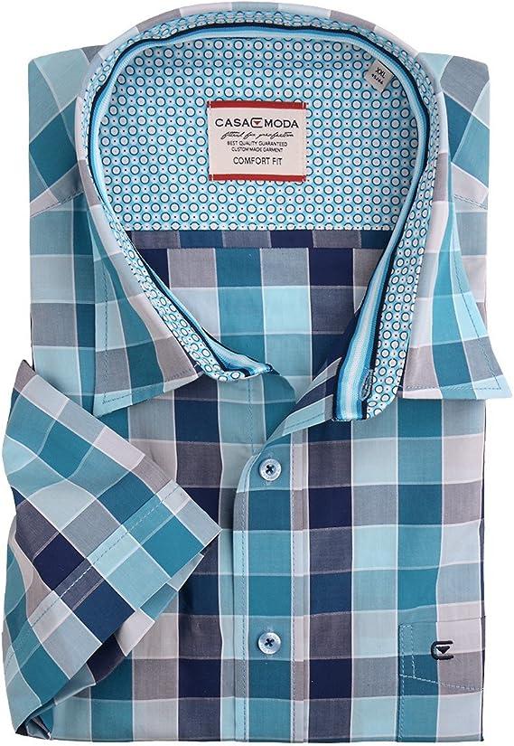 Camisa de Manga Corta a Cuadros Azul Turquesa de Casa ...