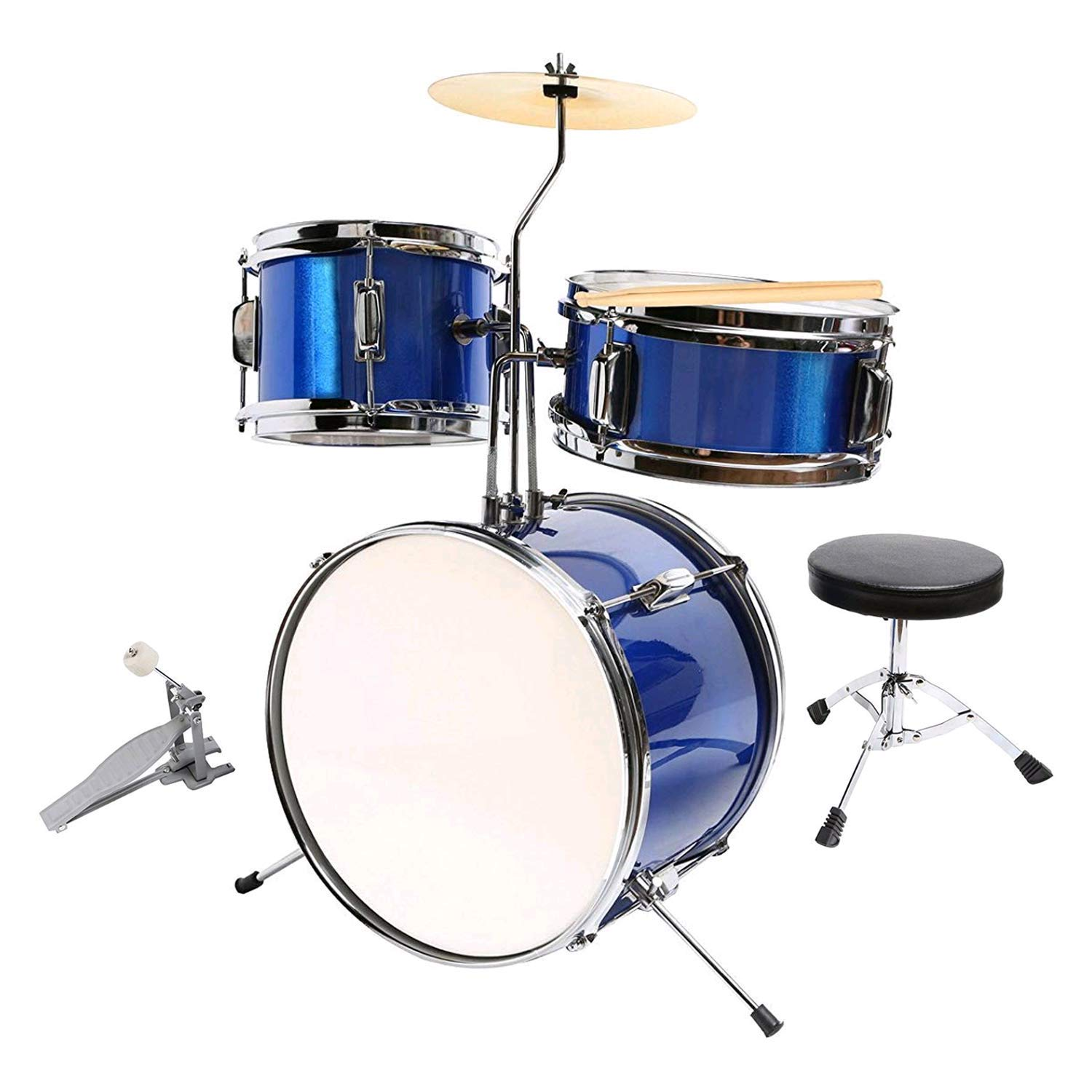 LAGRIMA 13 inch 3-Piece Kids Beginner Drum Percussion Musical Instrument Set with Adjustable Throne, Cymbal, Drum Pedal and Drumsticks(Blue)