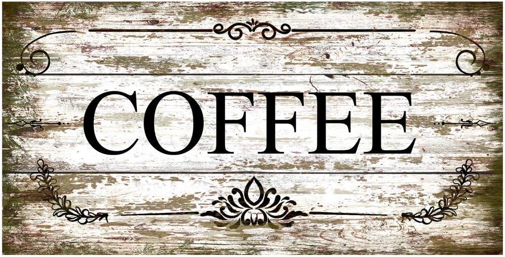 Original Vintage Design Imitation Wood Grain Coffee Tin Metal Signs Wall Art, Thick Tinplate Print Poster Wall Decoration Sign for Cafe/Coffee Corner