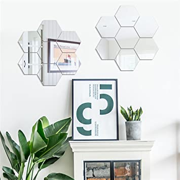 Dakshita Home Decor   Hexagon Silver (Pack Of 7) 3D Wall Decor 3D Mirror