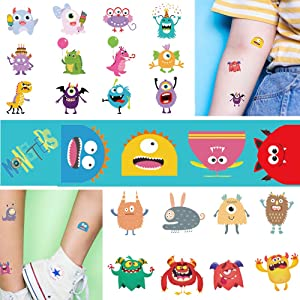 Ooopsi Monster Temporary Tattoos for Kids - More Than 120 Tattoos - Cute Cartoon Tattoos Sticker for Boy Girl Birthday Party Decorations Supplies Favors