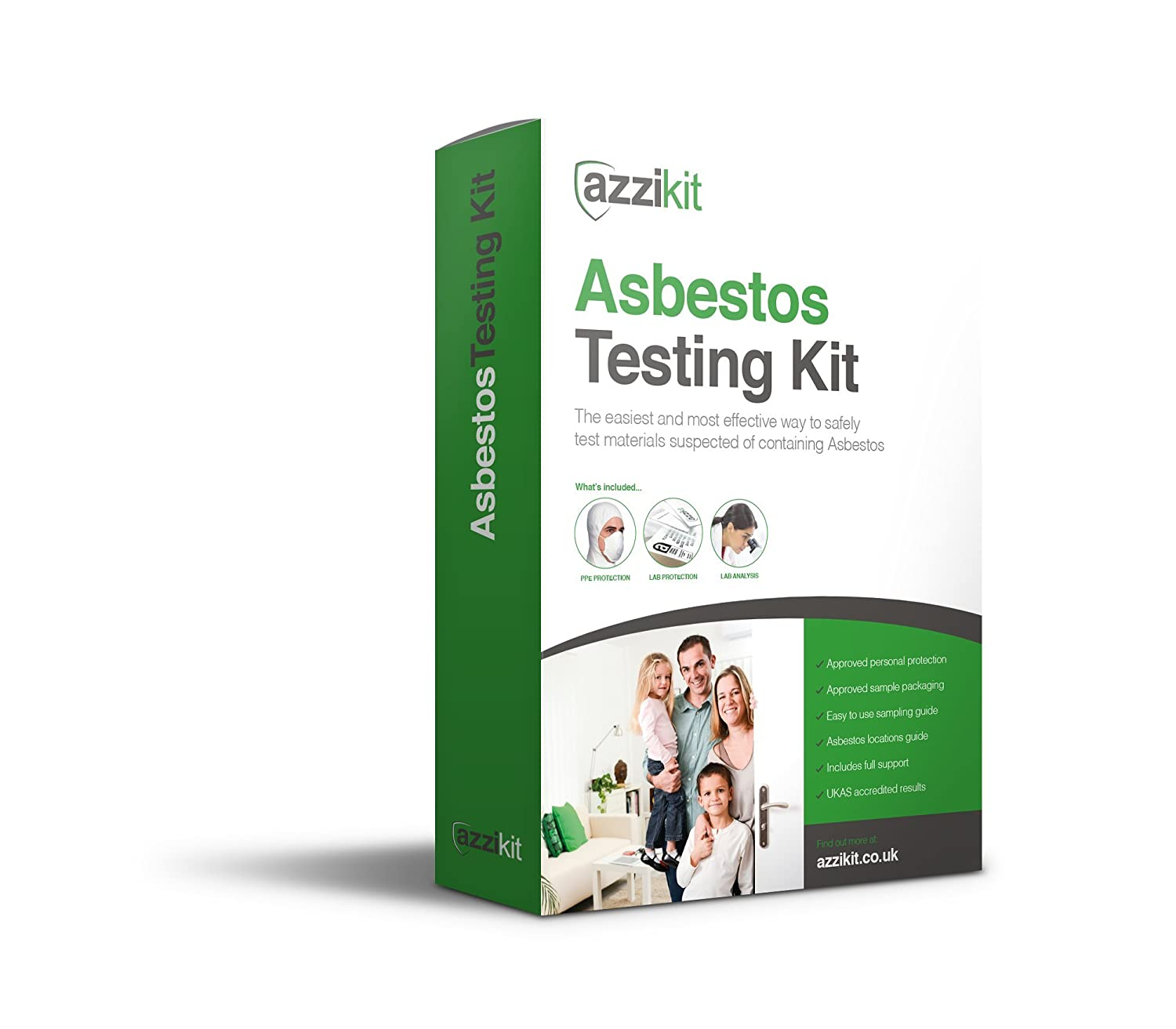 Azzikit - DIY Asbestos Self Sampling / Testing Kit - 2 x Sample Kit -  Complete with fully approved safety equipment and next day UKAS lab results