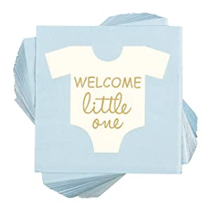 Baby Shower Cocktail Napkins - 100 Pack Welcome Little One Disposable Paper Party Napkins, Perfect for Boy Baby Shower Decorations and Gender Reveal Party Supplies, 5 x 5 Inches Folded, Blue