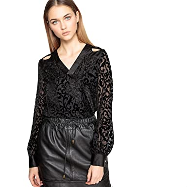 7d75ce57c74 La Redoute Collections Womens Devore Velour Blouse with Openwork Shoulders  Black Size US 4 - FR