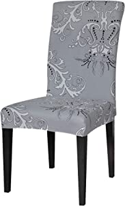 TIKAMI 4PCS Spandex Printed Fit Stretch Dinning Room Chair Slipcovers (4, Gray)