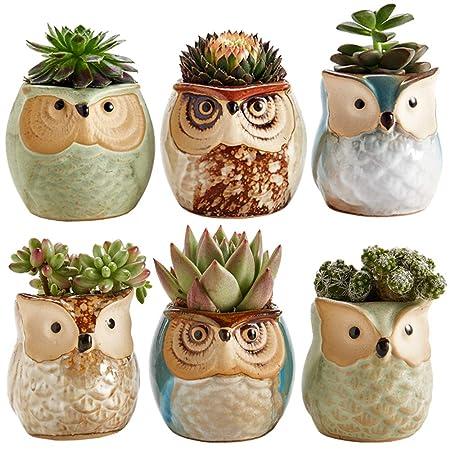 Sun-E 2.5 Inch Owl Pot Ceramic Flowing Glaze Base Serial Set