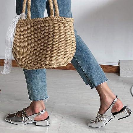 Lefthigh - Zapatos para Mujer de tacón Medio con Cuentas de Piel ...