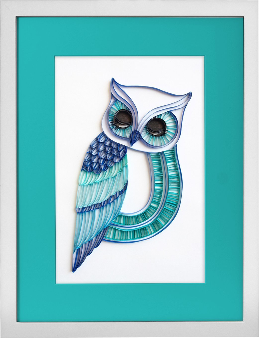 The Sleepy Owl - Modern Paper Quilled Wall Art for Home Decor (one of a kind paper quilling handcrafted piece made with love by an artist in California)