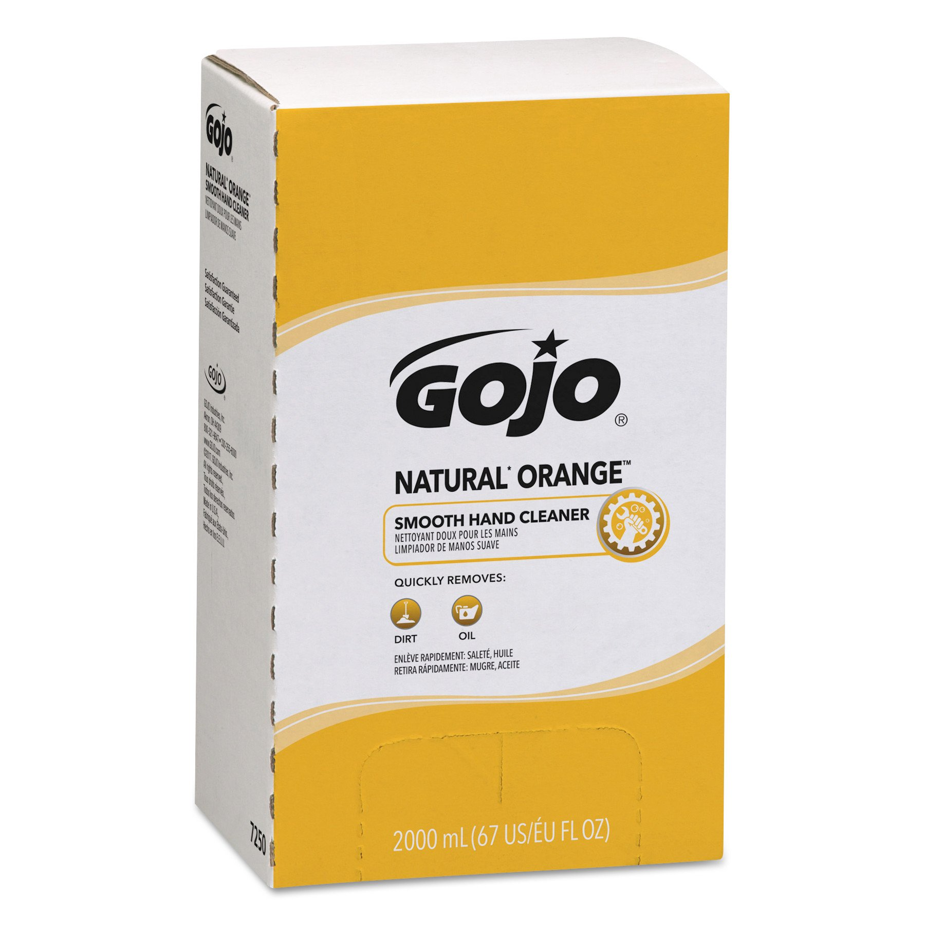 GOJO 7250 Natural Orange Smooth Lotion Hand Cleaner, 2000 ml Bag-in-Box Refill (Case of 4)
