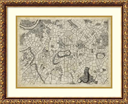 Amazon.com: Framed Art Print \'Map of London Grid XI\': Posters & Prints
