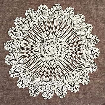 FADFAY Handmade Crochet Doilies Round Tablecloths Cotton Hollow Decorative  Beige Table Cover 33.4u0026quot;