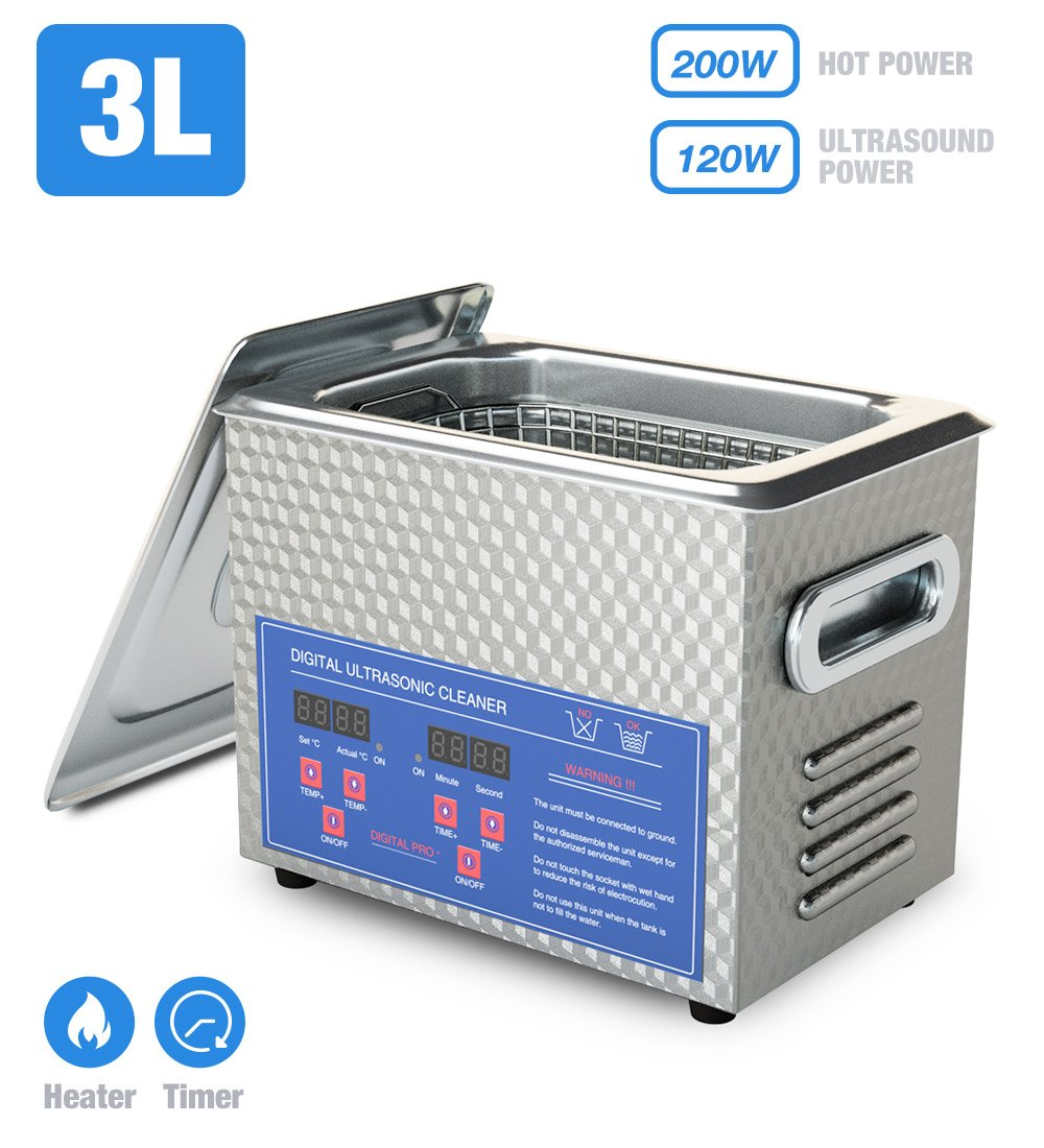 Jakan Ultrasonic Jewelry Cleaner with Digital Heater for Cleaning Parts, Gun, Dental, Carb, Brass, Ring, Eyeglass 3L Dental/Lab/Hospital/Store/Household Instruments