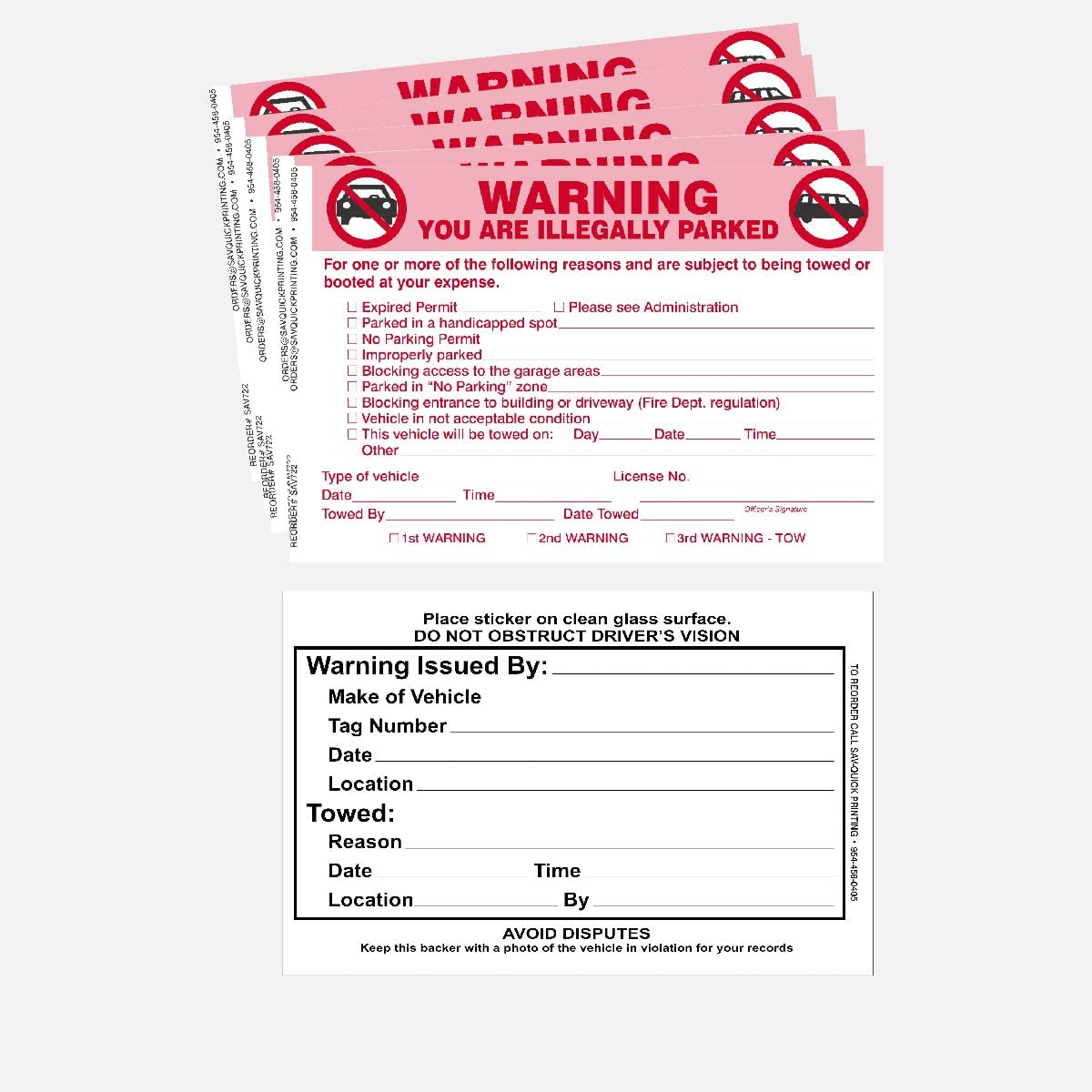 Scrap to Remove Stickers Neon Green 5.5 x 7.5 50 Parking Violation Sticker Parking Violation Notice No Parking Warning Stickers Made in The U.S.A. Vehicle Illegally Parked Tow Notice