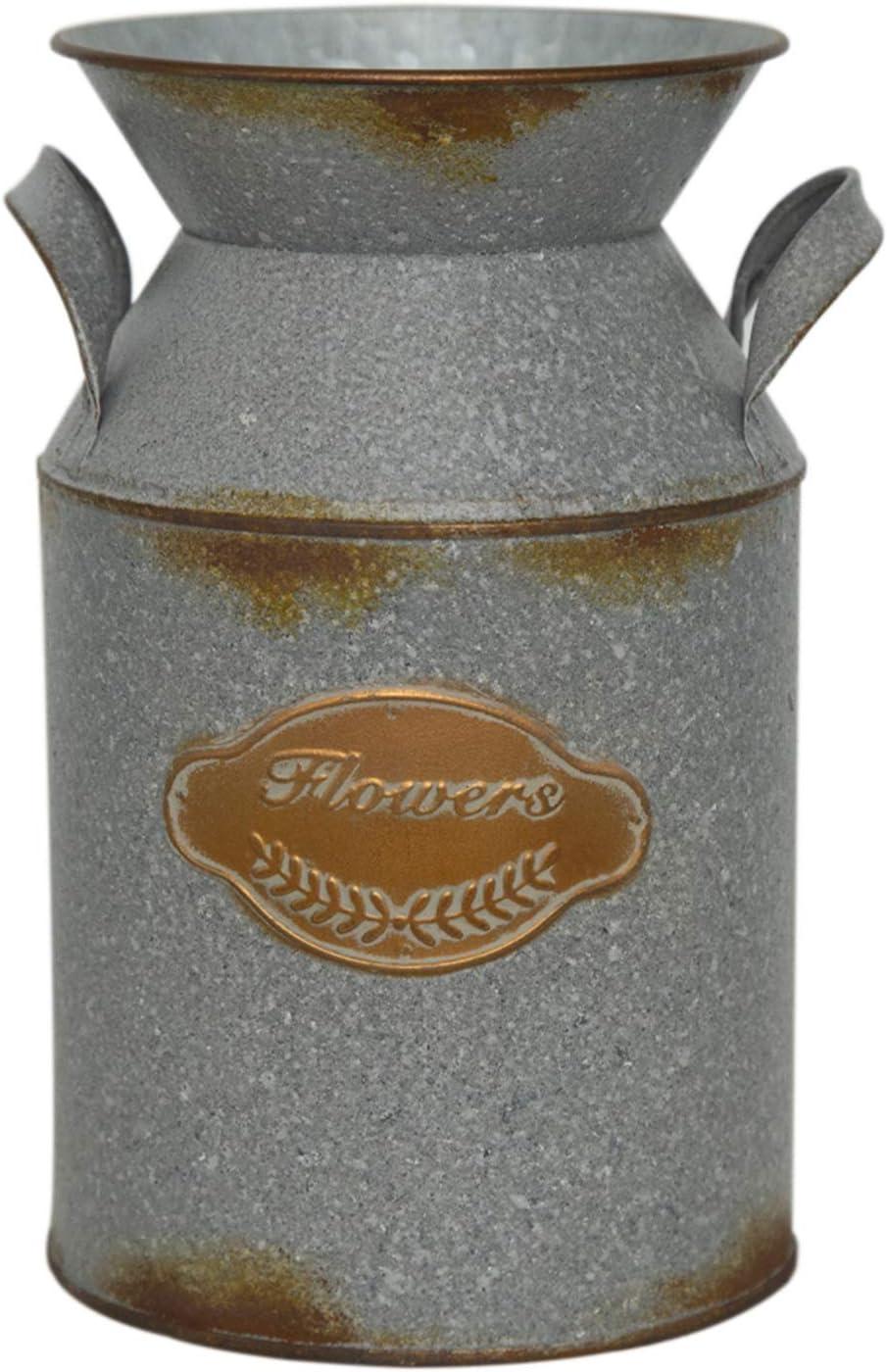 "Putuo Decor Shabby Chic Flower Vase, Galvanized Milk Can, Primitive Country Farmhouse Home Decor, 5"" W, 8.3"" H"