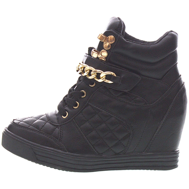 Sopily - Scarpe da Moda formatori zeppa Alti alla caviglia donna trapuntata Catena metallico Zip Tacco zeppa 8 CM - ke9TM