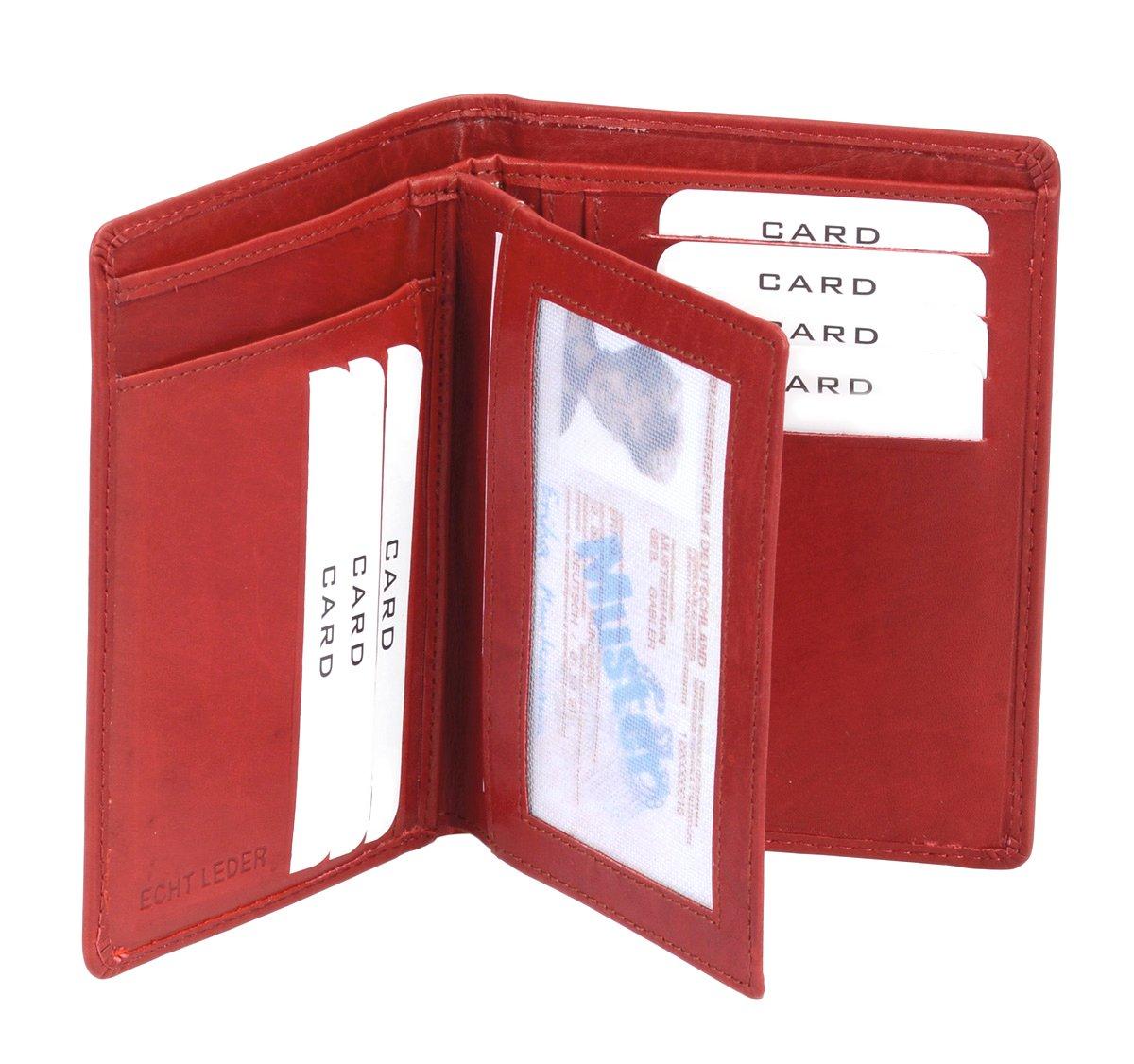 LEAS Porte-cartes pour pièce d'identité, cuir véritable, cherry Card-Collection'' LE3288610112