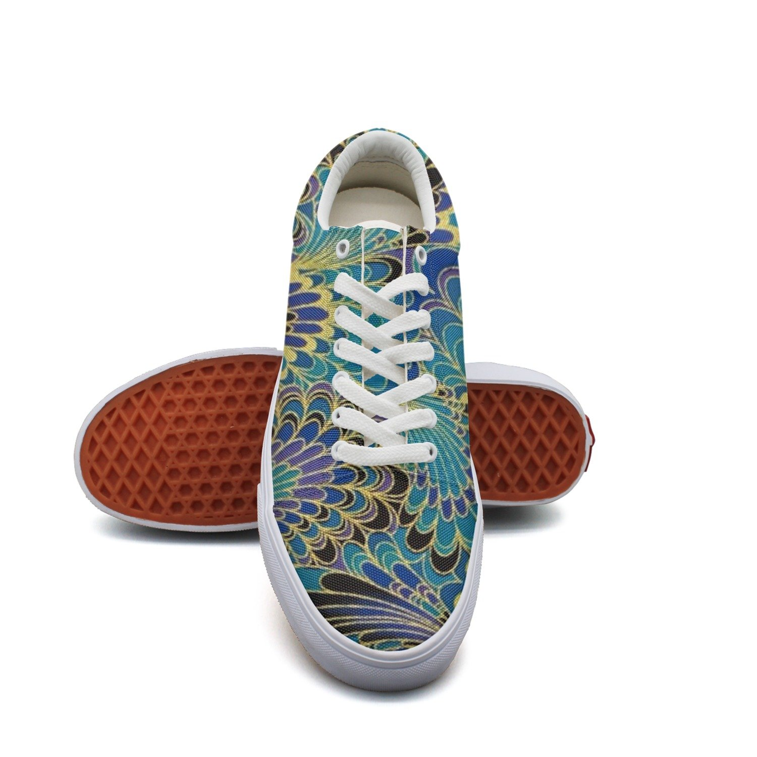 Ouxioaz Womens Classic Shoes Abstract Peacock Canvas Tennis Shoes