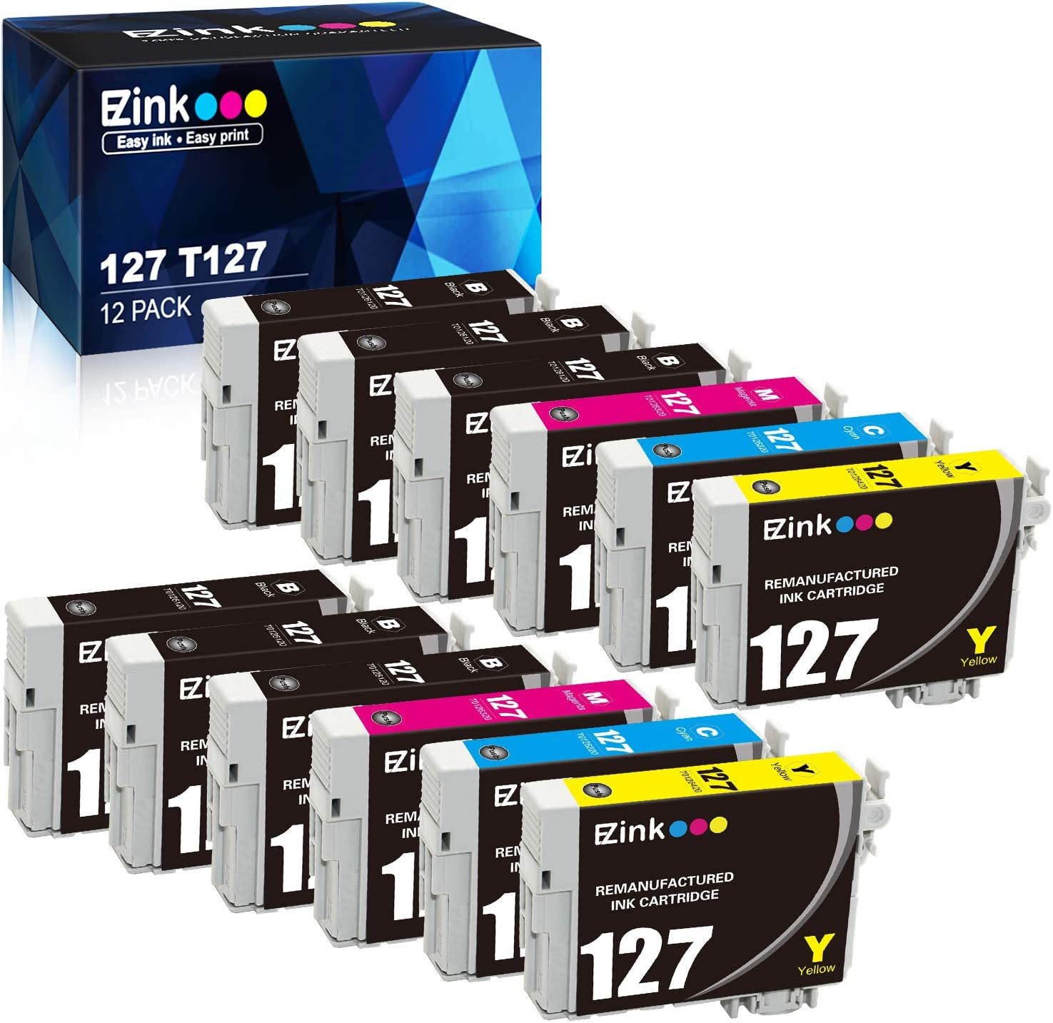 E-Z Ink (TM) Remanufactured Ink Cartridge Replacement for Epson 127 T127 to use with NX530 NX625 WF-3520 WF-3530 WF-3540 WF-7010 WF-7510 WF-7520 545 645 (6 Black, 2 Cyan, 2 Magenta, 2 Yellow) 12Pack