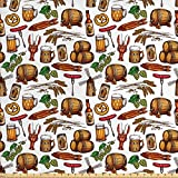 pretzel wheat beer - Oktoberfest Fabric by the Yard by Lunarable, Beer Making Elements Hops Wheat Pretzels Lobster Festival Menu Country Theme, Decorative Fabric for Upholstery and Home Accents, Multicolor