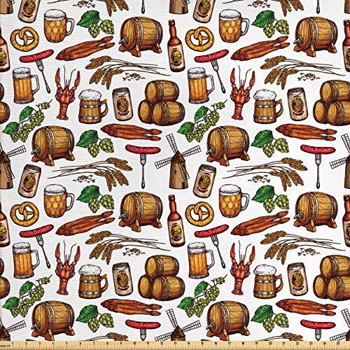 Lunarable Oktoberfest Fabric by the Yard, Beer Making Elements Hops Wheat Pretzels Lobster Festival Menu Country Theme, Decorative Fabric for Upholstery and Home Accents, (Element Treatment Table)