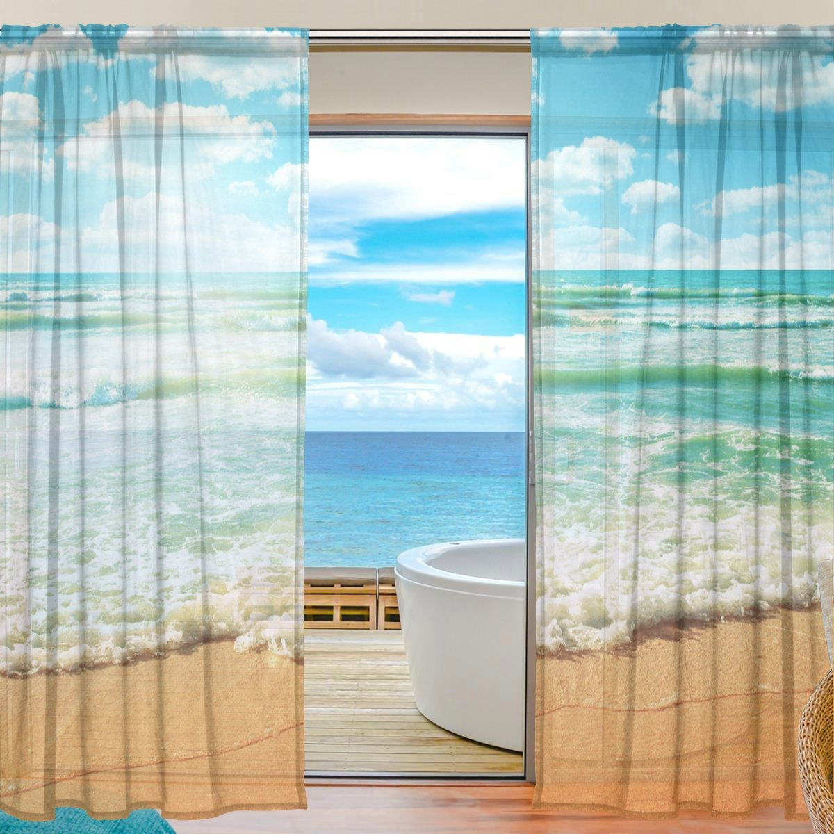 SEULIFE Window Sheer Curtain, Ocean Sea Summer Beach Theme Voile Curtain Drapes for Door Kitchen Living Room Bedroom 55x78 inches 2 Panels g3912212p113c127s169