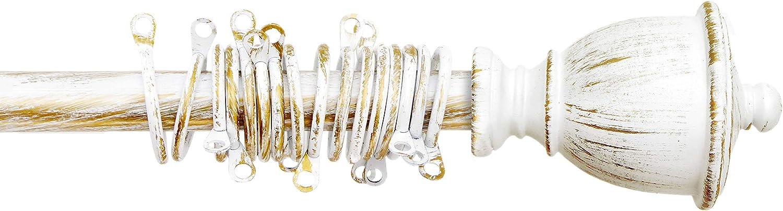 120-210 AT17 Barra de Cortina Di/ámetro 2 cm Metal Barra para Cortina Extensible Rom/ántico R/ústico Shabby Chic Blanco//Oro Vintage