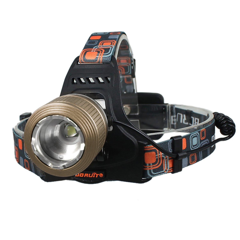 Bjour Max 2000 Lumens Adjustable LED Headlamp Headlight, Zoomable Spot Light Flood Light, Handsfree Waterproof Flashlight for Camping Running Hiking Hunting Fishing