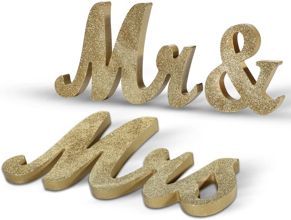 Adeeing Mr and Mrs Signs Wedding Sweetheart Table Decorations Glitter Wooden Freestanding Letters for Photo Props, Rustic Wedding Decoration, Anniversary Wedding Shower Gift (Golden)
