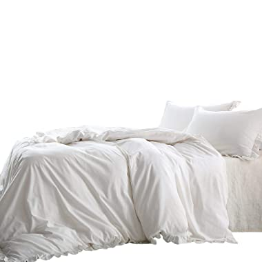 NTBAY Linen 3 Pieces Duvet Cover Set Solid Color with Exquisite Ruffles Design, Breathable, King Size, Ivory