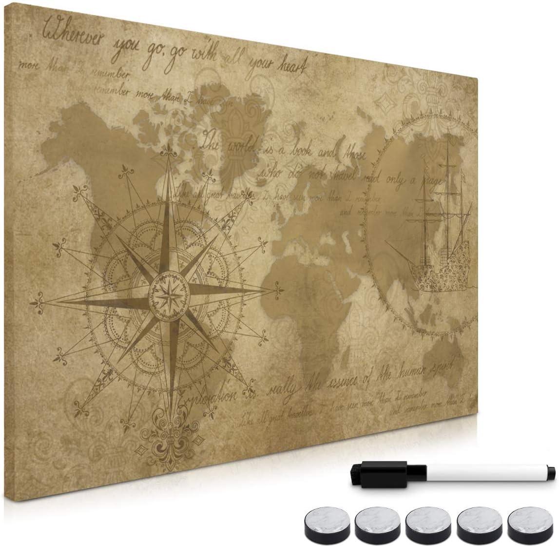Lavagnetta scrivibile memoboard 60x40 cm con mappamondo Bacheca con pennarello magneti ganci Navaris Lavagna magnetica bianca di vetro