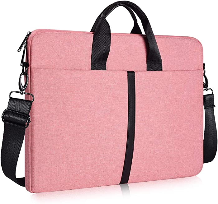 15.6 Inch Laptop Sleeve Shoulder Bag, Waterproof Women Ladies Briefcase Handbag for HP Envy/Pavilion 15.6, Dell Inspiron 15 5000, Acer Aspire E15/Predator, Lenovo IdeaPad 3 15.6 MacBook 15 Case, Pink