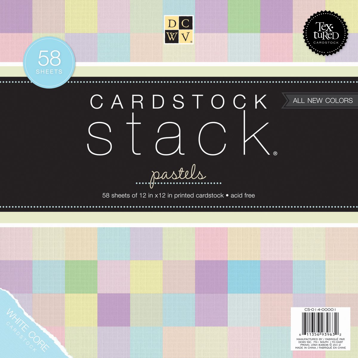 Die Cuts DCWV Cardstock Stack, Textured Pastels, 58 Sheets, 12 x 12 inches DIECUTS WITH A VIEW CS014001