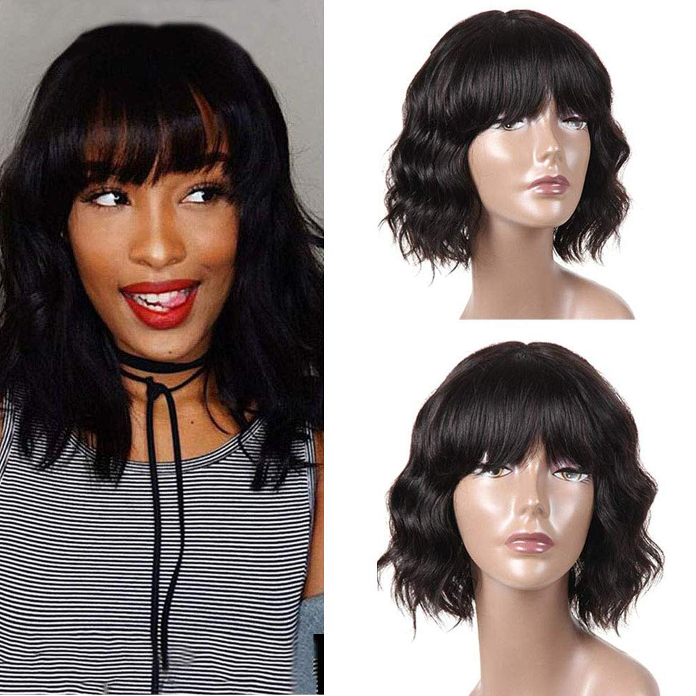 8 Inch Natural Color Body Wave Lace Front Wigs Human Hair Pre Plucked Black Wig With Bangs Wigs For Black Women Human Hair 150/% Density Pre Plucked With Baby Hair