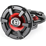 """Auna SBC-6131 Car Audio Speakers High Performance Bass-Heavy (6"""", 1200W, 3-Way Coaxial Design) Black/Red"""