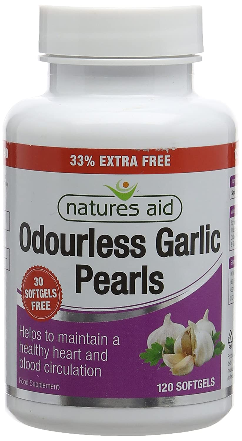 Natures Aid Odourless Garlic Pearls, 120 Softgel Capsules (One-a-Day, to  Help Maintain a Healthy Heart and Blood Circulation, Made in the UK)