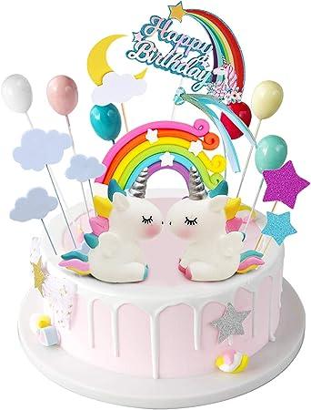 Remarkable Izoel 21Pcs Unicorn Cake Topper Kit Cloud Rainbow Balloon Happy Birthday Cards Printable Nowaargucafe Filternl