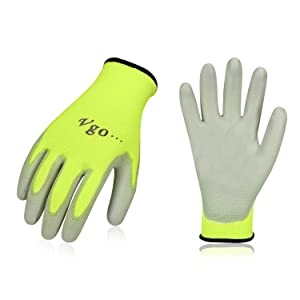 Vgo 15Pairs PU Coated Gardening and Work Gloves (Size XL,Fluorescent Yellow,PU2103)