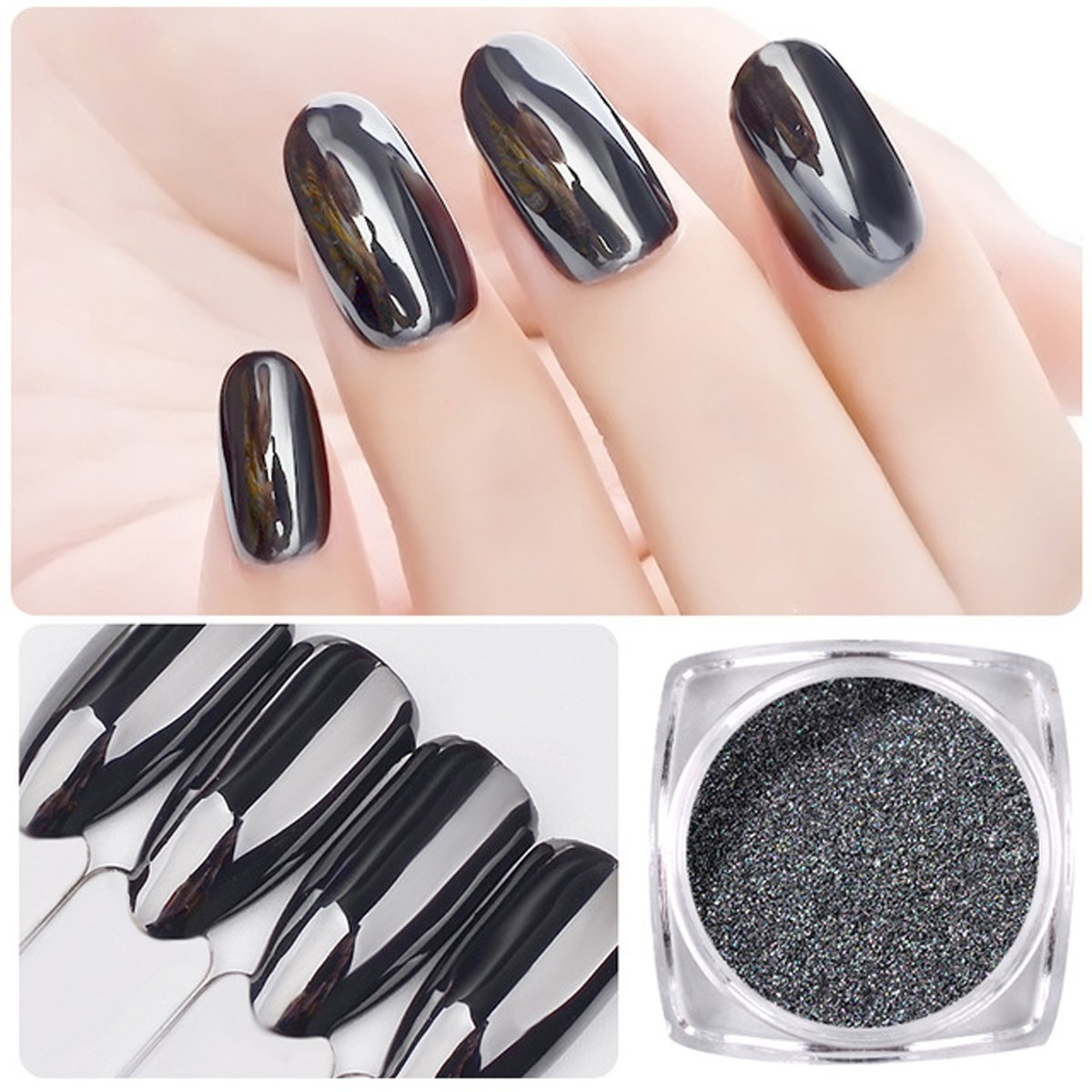 Saviland 2pcs 1g Magic Mirror Black Nail Glitter Powder Nail Art Chrome Pigment Dust Manicure DIY Nail Decoration