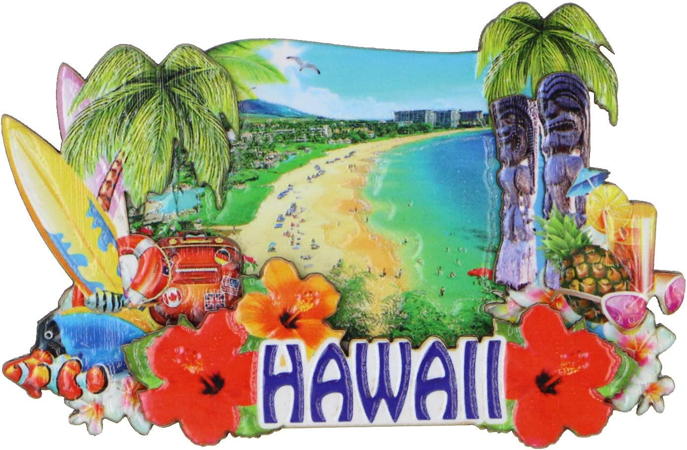 3D Hawaii Magnet Souvenir with Beach and Icons 4 Inches