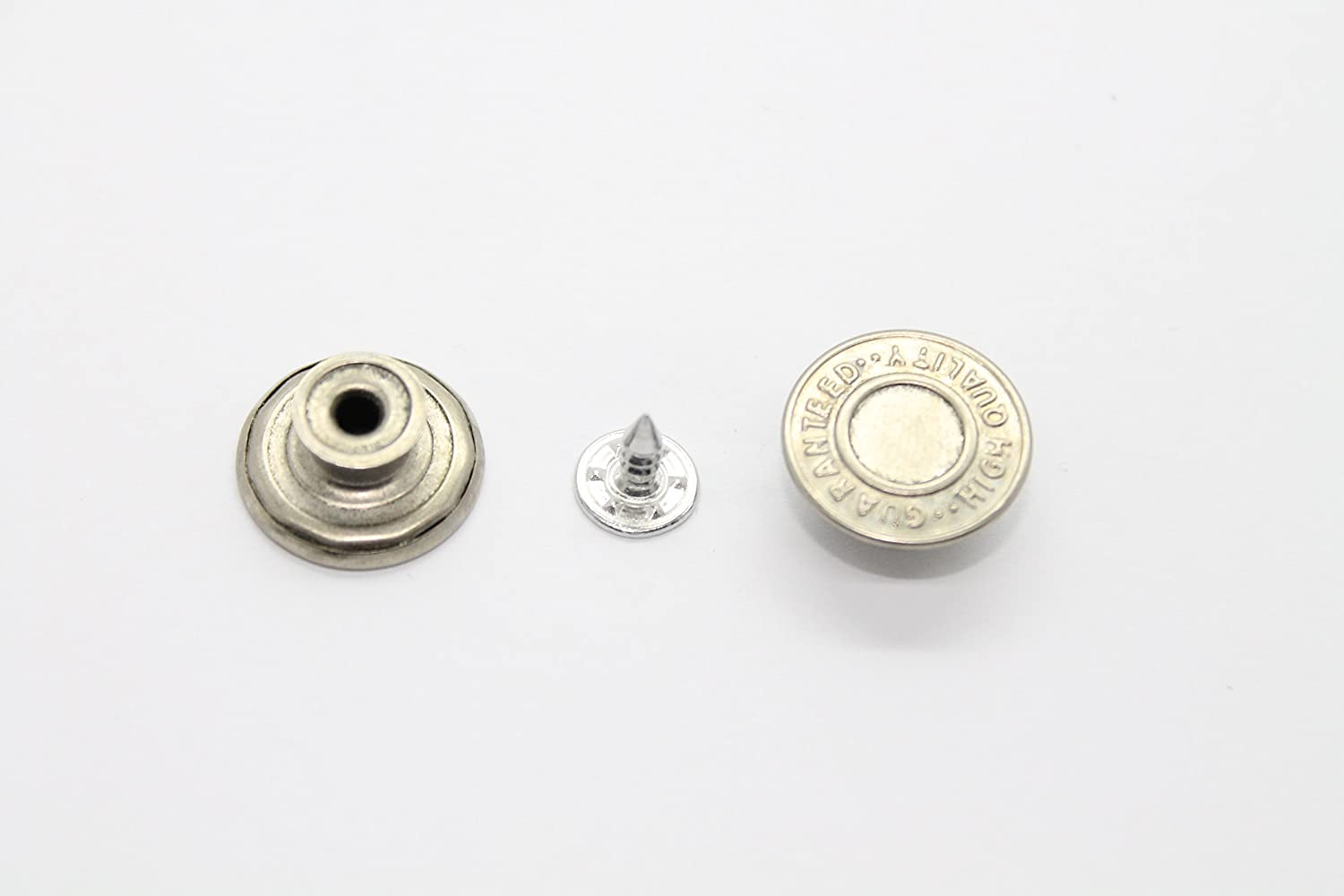 8 x Jean Stud Buttons - 17mm Wide - Silver Colour - Replacement for Missing Buttons on Jeans, Jackets, Clothes By Trimming Shop Trimming Shop London Ltd