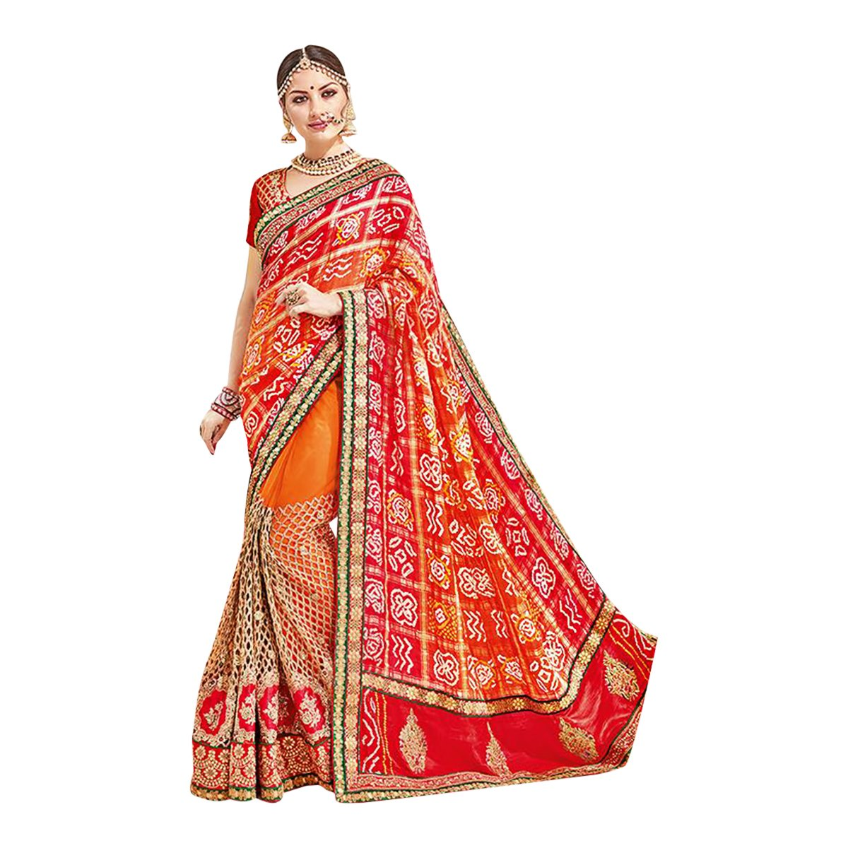Red Orange Bollywood Bridal Designer Saree Sari For Women Party Wear Black Friday Special Wedding Blouse Ceremony 615 2H by ETHNIC EMPORIUM