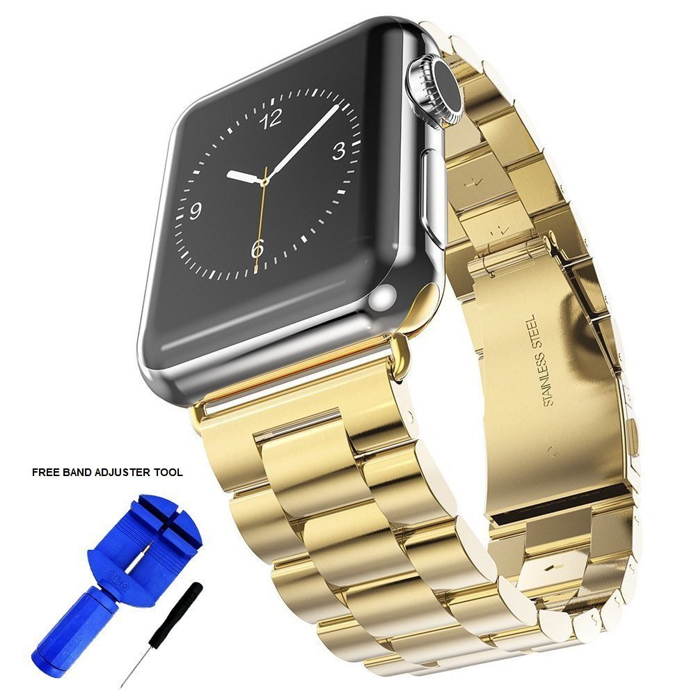 Palestrapro Gold Stainless Steel i Watch Bands Women 38mm, iPhone Watch Band Replacement Strap Series 3, 2, 1 (Gold, 38mm)