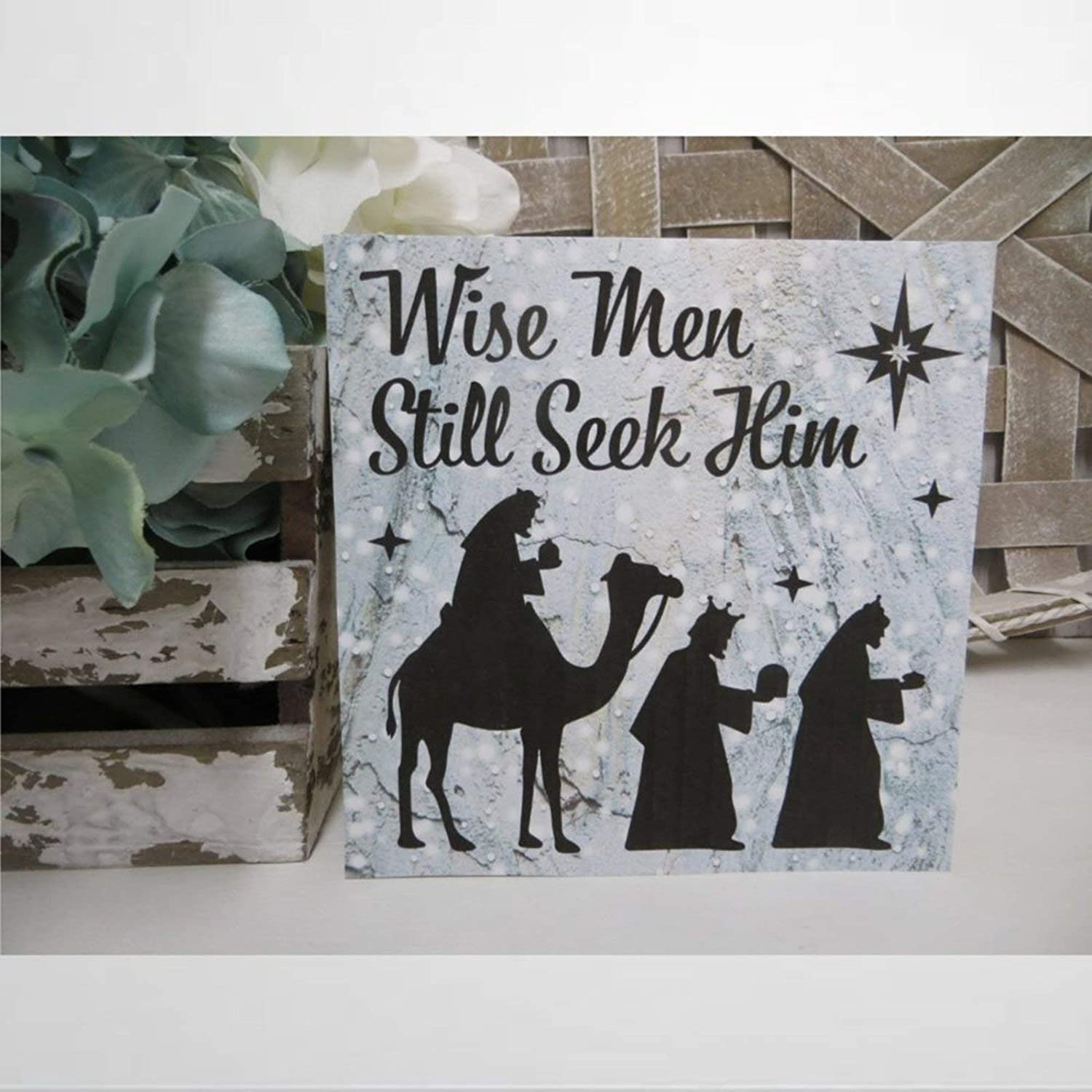 DONL9BAUER Rustic Wood Sign, Christmas Sign, Wise Men Still Seek Him, Religious Sign, Christmas Office Decor, Hanging Wall Art Home Decor