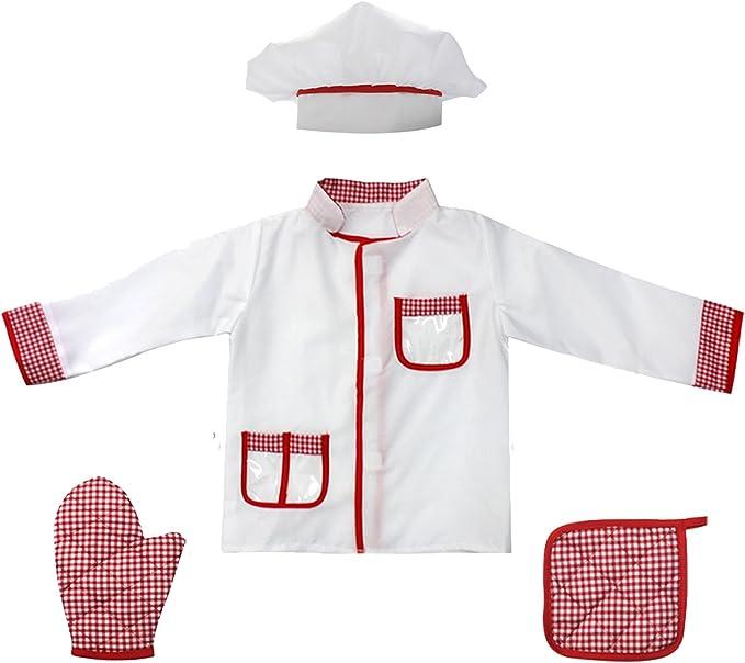 Amazon.com: fedio 4 piezas niños Chef Juegos de rol Costume ...