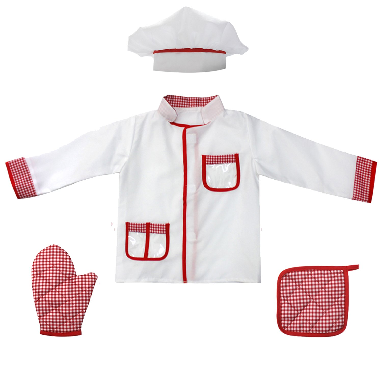 4Pcs Kids Chef Role Play Costume Set fedio Chef Dress up Set for Children(Ages 2-4) (Red gingham) by fedio