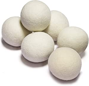 6 Pack All Natural Wool Dryer Balls XL Size - Chemical Free Natural Fabric Softener Reusable Anti Static Reduces Clothing Wrinkles and Saves Drying Time (White)
