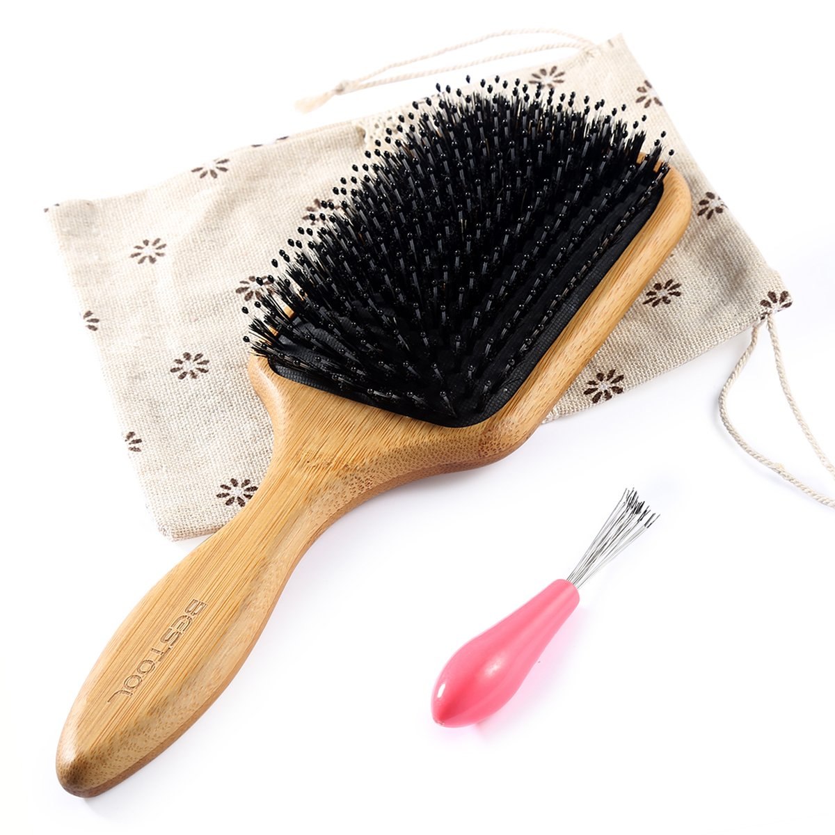 BESTOOL Hair Brush-Natural Boar Bristle Hair Brush with Added Nylon Pins, Bamboo Large Paddle Brush, Detangling and Adding Shine Hair Brush Benefit for Women Men and Kid | All hair Types
