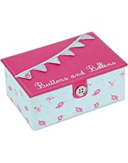 BUTTON IT Summer Fayre Medium Duck Egg Blue and Bright Pink Bunting Sewing Box with Lilac Gingham Lining