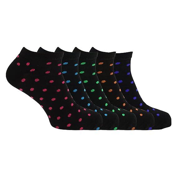 Soho Collection - Calcetines tobilleros para deportivas con estampado de lunares (paquete de 5)