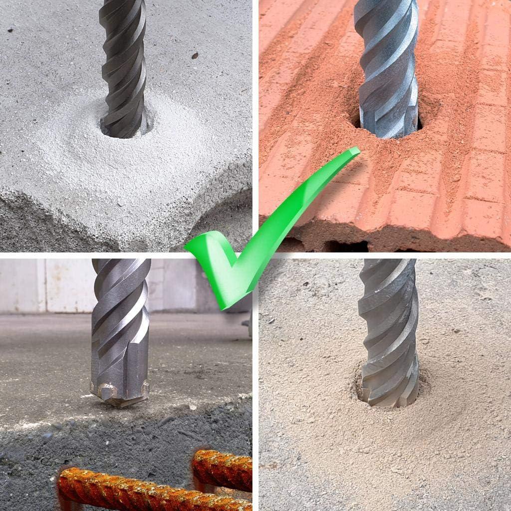 Largo 40 x 800 mm Ideal para taladrar r/ápidamente en hormig/ón Punta de metal duro de alta calidad Sin gancho en hierro forjado 40 x 800 mm Broca SDS Max 40 mm de di/ámetro